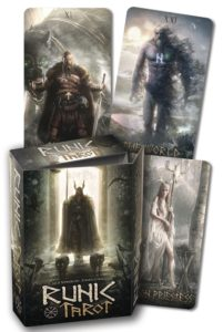 Cover to the Book Kit of the Runic Tarot with 3 sample cards.